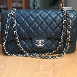 Chanel double flap quilted caviar purse